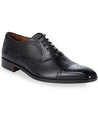 Massimo Matteo Brogued Leather Oxford Shoe - Black