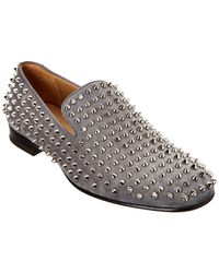 02d736b7215 Men's Rollerboy Spike-studded Red Sole Loafers - Gray