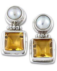 Samuel B. Silver Citrine 6mm Pearl Drop Earrings - Metallic