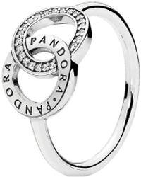 PANDORA Entwined Circles Logo & Sparkle Ring - Metallic