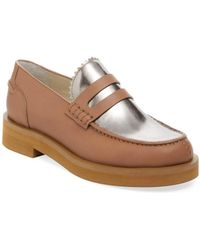 Jil Sander Navy - Leather & Metallic Leather Penny Loafer - Lyst