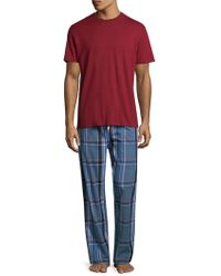 Original Penguin - Plaid Tonal Cotton Pyjama Set - Lyst