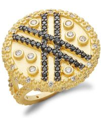 Freida Rothman - Pavé Crystal And Yellow Goldtone Vintage Deco Cocktail Ring - Lyst