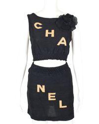 Chanel 2pc Logo Set, Size Fr 34 - Blue