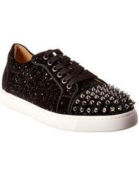 Christian Louboutin Viera Spiked Velvet Sneakers - Black