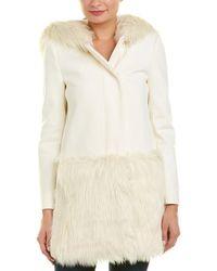 French Connection Platform Felt Wool-blend Coat - White