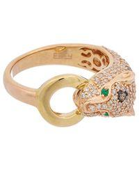 Effy - Fine Jewellery 14k Two-tone 0.68 Ct. Tw. Diamond & Emerald Panther Ring - Lyst