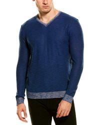 Forte Cashmere Linen-blend V-neck Sweater - Blue