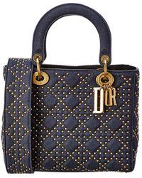 Dior Medium Lady Quilted & Studded Denim Shoulder Bag - Multicolour