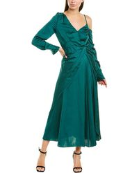 Self-Portrait Asymmetric Dress - Green
