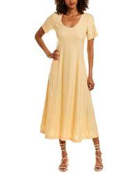 Club Monaco Scoop Neck Midi Dress - Yellow