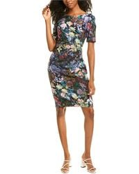 Adrianna Papell Floral Sheath Dress - Black