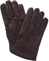 Portolano Men's Chocolate Cashmere-lined Leather Gloves - Brown