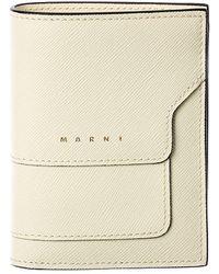 Marni Saffiano Leather Card Holder - Natural
