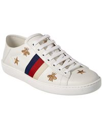 Gucci Bees & Stars Embroidered Leather Sneaker - Multicolour