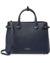 Burberry - Banner Medium Leather & Check Tote - Lyst