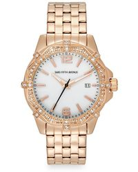 Saks Fifth Avenue - Stainless Steel & Deco Crystal Bezel Watch/rose Gold - Lyst