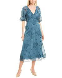 Rebecca Taylor Honeysuckle Silk-blend Midi Dress - Blue