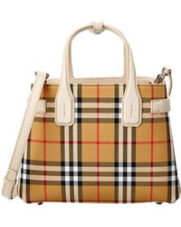 Burberry Small Banner Vintage Check & Leather Tote - White