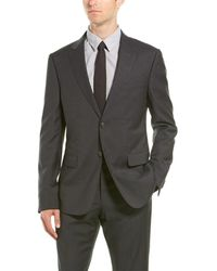 Z Zegna Z Zenga 2pc Wool Suit With Flat Pant - Black
