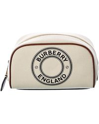 Burberry Small Logo Canvas & Leather Pouch - Multicolor