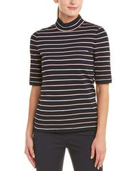 St. John Wool-blend Striped Pullover Top - Blue