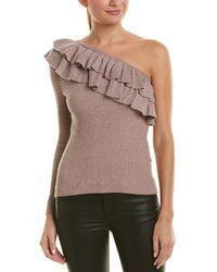 Rebecca Taylor Lurex One-shoulder Wool-blend Jumper - Pink