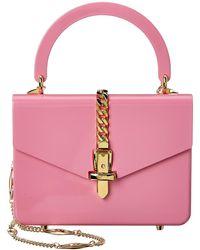 Gucci Sylvie 1969 Mini Plexiglas Top-handle Shoulder Bag - Pink