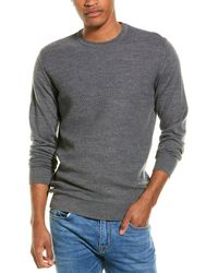 Stone Rose Honeycomb Wool-blend Crewneck Sweater - Grey
