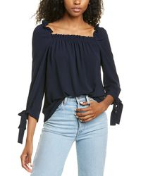 Cece By Cynthia Steffe 3/4-sleeve Square Neck Blouse - Blue