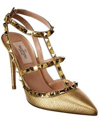 Valentino Rockstud Caged 100 Metallic Leather Ankle Strap