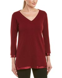Lafayette 148 New York Charmeuse Cashmere & Silk Sweater - Red