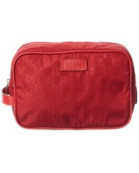 Gucci Red Nylon Toiletry Pouch