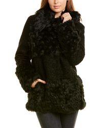 Kensie Sherpa Patchwork Coat - Black