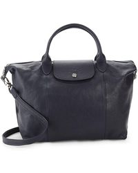 Longchamp - Le Pliage Cuir Leather Medium Top Handle Bag - Lyst