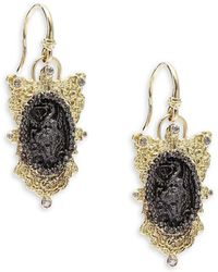 Armenta - Old World Champagne Diamond, 18k Yellow Gold & Sterling Silver Oval Coin Filigree Shield Earrings - Lyst
