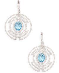 Effy - 14k White Gold, Diamond & Topaz Earrings - Lyst