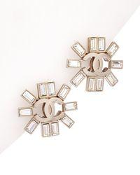 Chanel Silver-tone Cc Rhinestone Earrings - Metallic