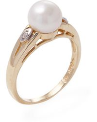 Masako Pearls - Fancy 14k Yellow Gold, 0.02 Total Ct. Diamond & Freshwater Pearl Ring - Lyst