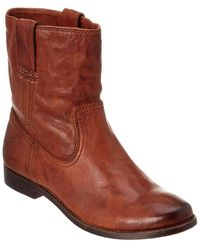 Frye Anna Shortie Leather Boot - Brown