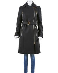 Gucci Wool Belted Coat, Size It 40 - Black