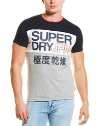 Superdry Crafted Print Colorblocked T-shirt - Blue