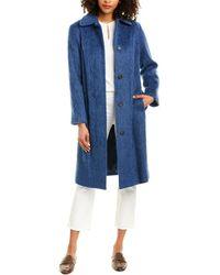 Vince Belted Slim Wool-blend Coat - Blue