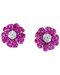 Arthur Marder Fine Jewelry 18k 5.10 Ct. Tw. Diamond & Ruby Earrings - Multicolour