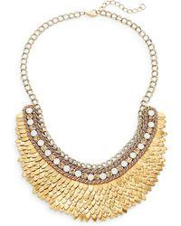 Deepa Gurnani Austrian Crystal & Suede Feather Bib Necklace/goldtone - Metallic