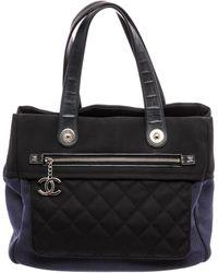 Chanel Black & Blue Fabric Rue Cambon Tote