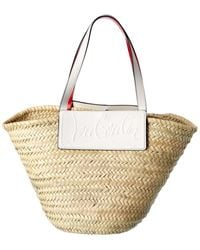Christian Louboutin Loubishore Straw & Leather Tote - Natural