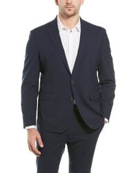 Cole Haan 2pc Tailored Wool-blend Suit With Flat Pant - Blue