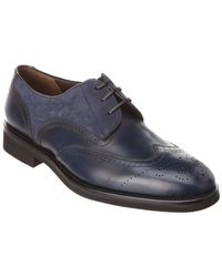 Ferragamo Fillmore Leather & Suede Wingtip Oxford - Blue