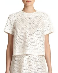 SUNO - Eyelet Back-pleat Top - Lyst